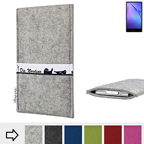 flat.design für Leagoo KIICA Mix Schutz Hülle Handytasche Skyline mit Webband Nordsee - Maßanfertigung der Schutztasche Handycase aus 100% Wollfilz (hellgrau) für Leagoo KIICA Mix