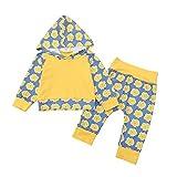 Hongyuangl Baby Mädchen Junge 2 Stück Kapuzenpullover + Trainingsanzug Bottoms Outfit Langarm Sweatshirt Pullover und Jogginghose