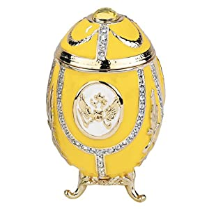 Design Toscano FH89339 Russian Imperial Eagle Collection Romanov Style Enameled Egg, Lemon Yellow, Yellow, 5 x 5 x 7.5 cm