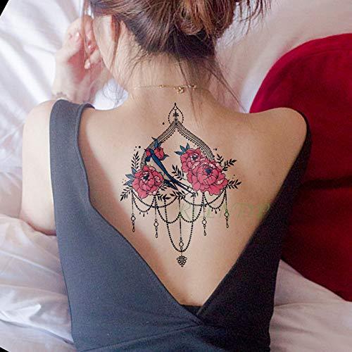 ljmljm 5pcs Autoadesivo del Tatuaggio Impermeabile Fiore Rosa Collana di Diamanti Foglia Tatto Tatoo Arte Tatuaggi per Ragazza Donna Uomo g Vino Rosso