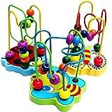 Jouet Jeu Abaque 12 Boules Educatifs Circuit de Motricite en Bois pour Bébé Enfant