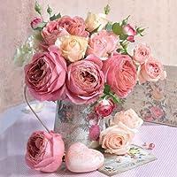 Ambiente Tovaglioli Di Carta Confezione da 20tovaglioli a 3veli ROSE in vaso matrimonio Rose Rosa, 25x