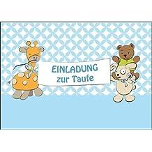 Im 5er Set: Niedliche Einladungskarte Zur Taufe (Junge) Stofftiere Auf  Hellblau Laden Zur