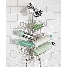 mDesign - Organizador de cubículo de ducha, con ganchos; guarda champú, acondicionador, jabón - extra grande - Satinado