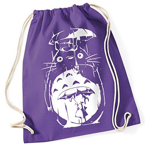 Mein Nachbar Totoro Umbrella Rain Studio Ghibli / Turnbeutel mit Fun Motiv Aufdruck / Rucksack GYM / Ideales Geschenk, Farbe:Purple (Lila Kostüme Farbe Film)