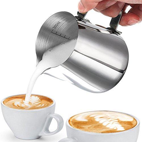 Milchkännchen , innislink Milk Pitcher 350ml Edelstahl Milch Schalen perfekt für Milchaufschäumer Craft Kaffee Latte Milch Aufschäumen Krug