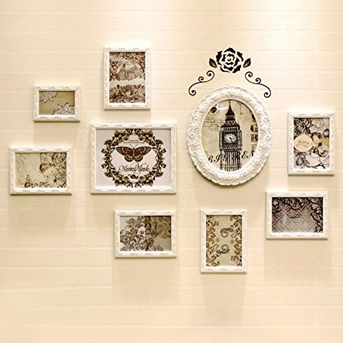 Nwn Fotowand Europäischen Stil Foto Wandrahmen Kombination Geschnitzte Hintergrund Wand Wohnzimmer Schlafzimmer Wand Vertikale Hängen Massivholz, Weiß (48,0 * 32,3 Zoll) - 48-wand-regal