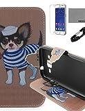 zzll151 Tabakspfeife Hundemuster PU-Lederetui mit V8-USB-Kabel, FLIM und Stylus für Samsung-Galaxiekern prime G360 KKKAOOL