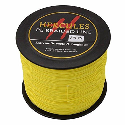 Hercules PE Superline geflochtene Angelschnur, 500?m Angelschnur 10lb-300lb, 8-fach, Herren, gelb, 200lb/90.7kg 0.75mm