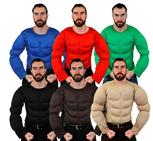 Imagen de adulto músculos pectorales  perfecto disfraz halloween accesorio o para superhéroe disfraz  estándar y tamaño extra grande  disponible en 6 colores beis / piel, marrón, negro, verde, rojo, azul