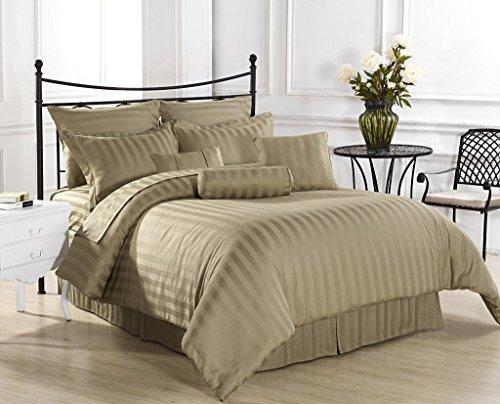 Bedding-, ägyptische Baumwolle Fadendichte 400, Deep Pocket, 26, 6 Satz UK Super King Size Betten Taupe gestreift, 100% ägyptische Baumwolle (Taupe-bett-satz)