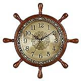 Uhr wanduhr Wohnzimmer Hause Uhr persönlichkeit kreative wanduhr stumm solide holzruder wanduhr (Farbe : B, größe : 37cm)