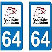 Paire Sticker immatriculation 64 - Nouvelle Aquitaine