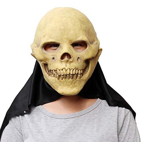 Schädel Kopf Maske Realistische Latex Gesichtsmaske Halloween Cosplay Kostüm Weihnachtsfeier Rollenspiele Spielzeug (Color : Beige, Size : One size)