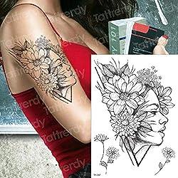Tatuajes temporales para Las Mujeres Flor Tatuaje Margarita peonía Tatuaje Brazo Pierna Tatuaje Mangas Chica Sexy Tatoo Transferencia de Agua Mandala Tatto
