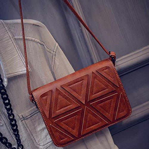 Contever® Donne Casual Borsa a spalla Tracolla Messenger Bag per la Viaggi / Fotografia di strada (Nero & Bianco) Brown