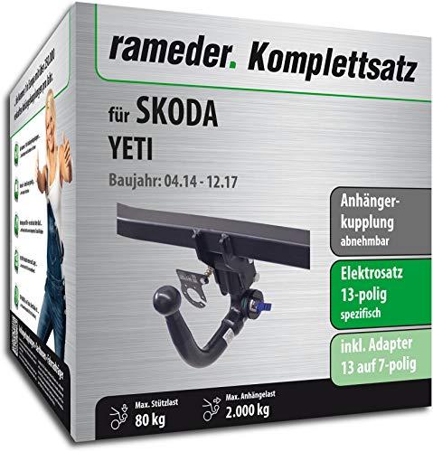 Rameder Komplettsatz, Anhängerkupplung abnehmbar + 13pol Elektrik für Skoda YETI (143259-08486-2)