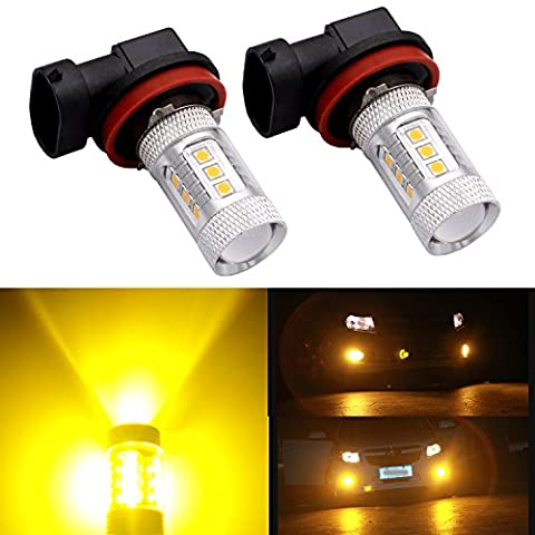 H11 H8 H16 LED Fog Light Bulb Projector Canbus DRL Replacements 12 - 24V Golden Yellow (Pack of 2)