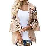DAY.LIN Kleidung Damen Spitze Blumen Cape öffnen Beiläufig Mantel Lose Bluse Kimono Jacke Strickjacke (M, Khaki)