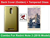 Shop Buzz Ombo-Bcg+Temp-Minote3 Combo Of Back Cover + Tempered Glass Screen Protector For Xiaomi Redmi Note 3 Golden Back Cover