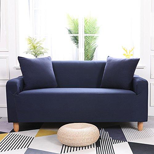 Lovehouse elastico copertura divano,poliestere colore puro fodera per divano copridivano copertine 1-pezzo antiscivolo antimacchia polvere prova mobili coperture per salotto -blu navy 4 monoposto