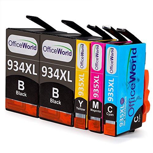 Preisvergleich Produktbild OfficeWorld Ersatz für HP 934XL 935XL Druckerpatrone Hohe Kapazität mit Neuer Chips Kompatibel für HP Officejet Pro 6830 6820 6230 6812 6815 6835 Drucker (2 Schwarz, 1 Cyan, 1 Magenta, 1 Gelb)