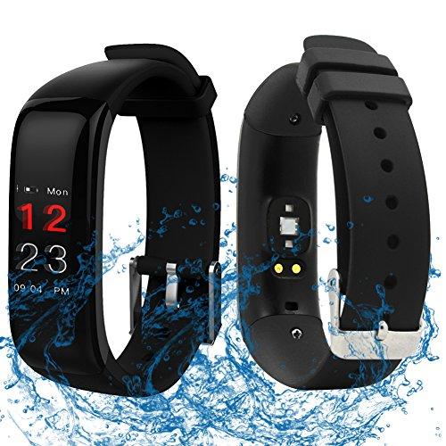 ROGUCI Wasserdicht 0.96 Zoll Groß Farbig OLED Bildschirm Tracking Fitnessarmband Uhr mit Herzrfrequenzmessung und Blutdruckmesser,Anruf / SMS Benachrichtigung Smartwatches von Stoppuhr und Wecker (Schwarz-0.96 Zoll)