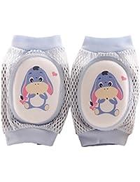 Newin Star Rodilleras,Protectores De Rodillas de Bebé Diseño de Malla y Alfombra de la esponja para bebé lindo dibujo asno/azul (Seguridad/Transpirable)