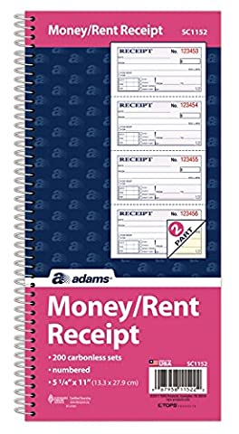 Adams Money and Rent Receipt Book, 2-Part Carbonless, 5 1/4 x 11 Inch Detached, Spiral Bound, 200 Sets per Book (SC1152)