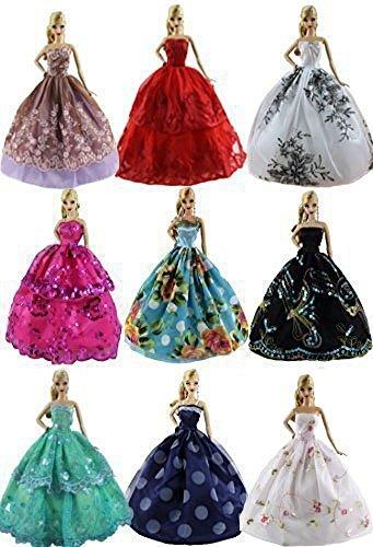6PCS Luxus-Modus Handarbeit verschiedenen Stil und Farbe Kleidung Kleid für Barbie Puppe Schrank Mode Zubehör Stil Farbe zufällige Kinder Geburtstagskarte Weihnachten Neujahr Geschenk