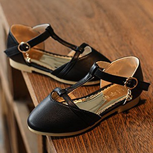 Oasap Girl's T-Strap Round Toe Buckle Mary Jane Shoes Black