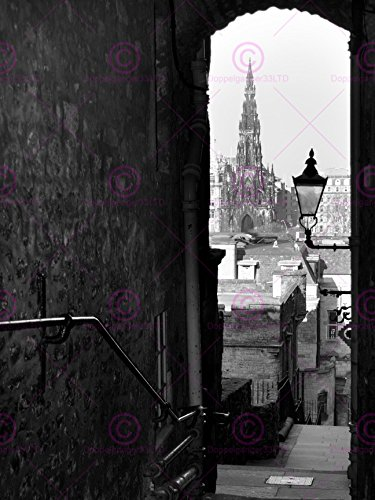 Lane Old Print (Doppelganger33 LTD Photograph Cityscape Old Lane Scott Monument Edinburgh Canvas Art Print)