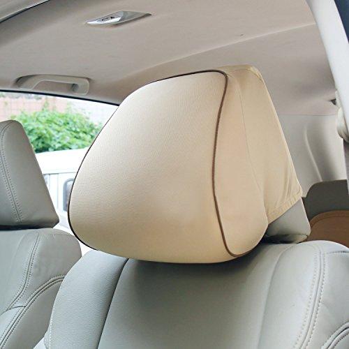 Timorn Gedächtnis Schaum Auto Kopflehnen Kissen Ansatz Stützkissen, langes Spielraum Kissen für Autositz Kopfstütze, bequemer Computer Stuhl Kopf Kissen (Beige) (Casual Kopf)