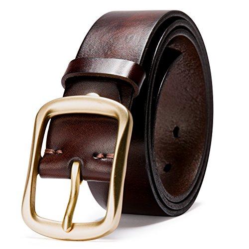Herren Gürtel für Freizeit und Anzüge, 100% Echtes Leder (Type 12 Cu) (Leder Falten Italienischen)