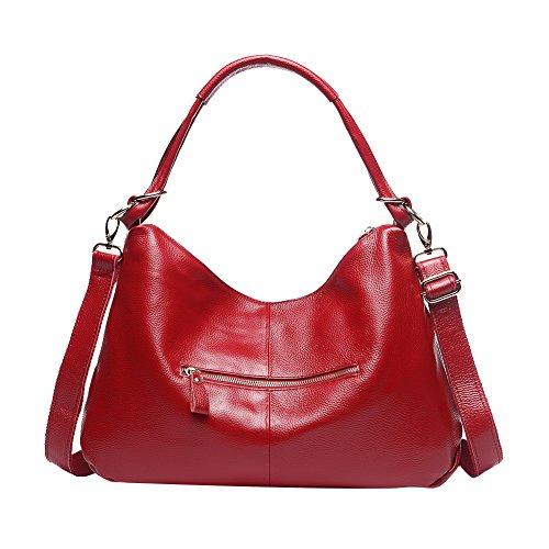Genda 2Archer Frauen Hobos Handtasche Leder Schulter Kuriertasche Rot