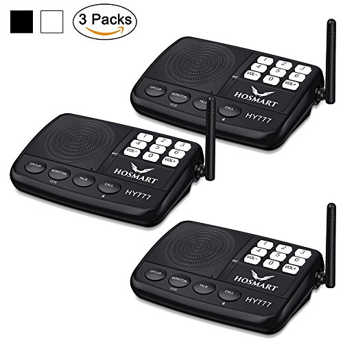 Hosmart LONG RANGE 7-Kanal Digital Wireless Intercom System f¨¹r Haus und B¨¹ro (3 Stationen) (Digital Intercom Wireless)