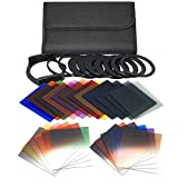 #3: QKOO 17pcs Square Color Filters +4pcs Neutral Density ND Filter ND2/4/8/16 +3pcs Graduated Filter G.ND2/4/8 +9pcs Adapter Rings +Square Holder +Lens Hood +Cases for Canon Nikon DSLR for Cokin P Series