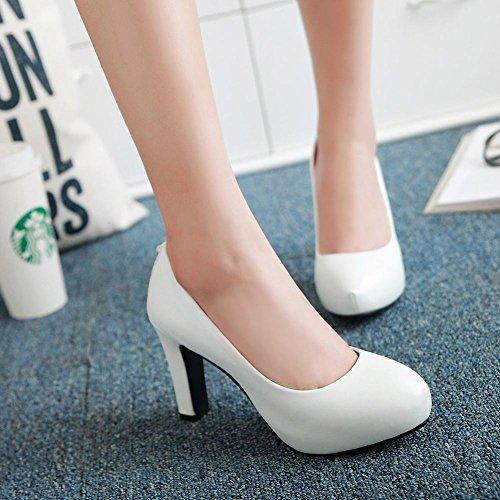 Mee Shoes Damen high heels inner Plateau Geschlossen Pumps Weiß