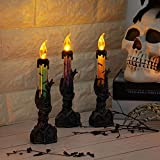 KOBWA Halloween LED Licht Schädel Kerzenhalter Skeleton Baum Dämon Kerze Geist LED Beleuchtung Flammenlose Kerze Batteriebetriebene Party Bar Dekoration Lampe