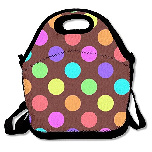 Preisvergleich Produktbild Rainbow Dots Printing Lunch Bags Insulated Zip Cooler Bag Portable Takeaway Film Pack Cooler Bag Lunch Box Package Picnic Outdoor Travel Fashionable Handbag Pouch For Women Men Kids Girls