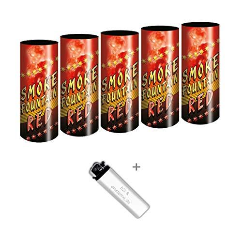 5 Stück Bengalo Rauch Vulkan Fontäne Party Feuerwerk Rauchfarbe rot/Ganzjahresfeuerwerk Kat T1/F1