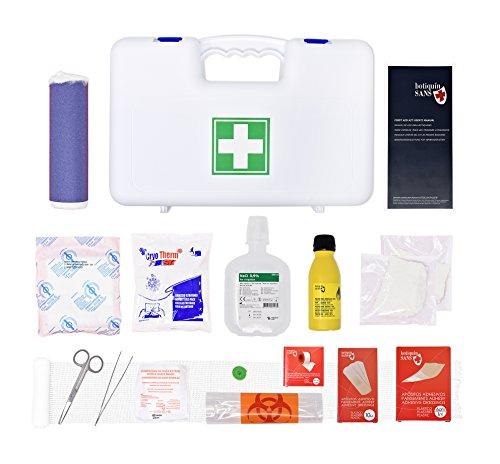Valigetta di pronto soccorso allegato 2 per aziende fino a 2 dipendenti (con soluzione di iodopovidone, soluzione fisiologica, pinzette da medicazione.)