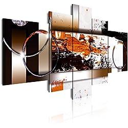 Dekoarte 87 - Cuadro moderno en lienzo 5 piezas estilo abstracto en tonos ocre, blanco y negro, 180x3x85cm
