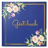 Lorsenberg Gästebuch - Hardcover Hochzeitsbuch 64 Seiten hochwertig | Boho Vintage Blumen | blanko ohne Fragen | in Blau mit Edler Goldfolie