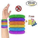 Naisicantar 20pcs Bracelets Anti-Moustique avec 6pcs Autocollants Anti- Moucheron...