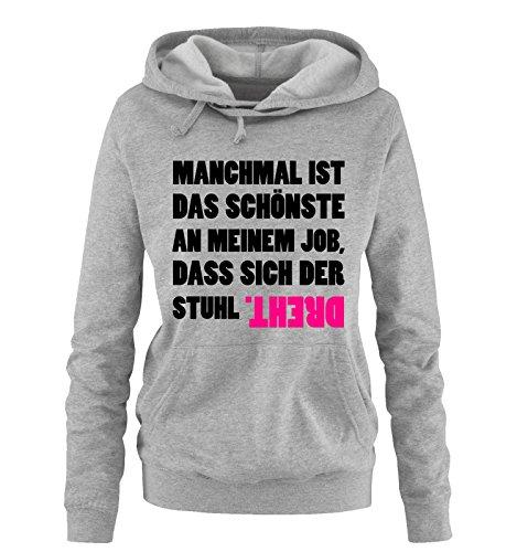 Comedy Shirts - Das schönste an Meinem Job. - Damen Hoodie - Grau/Schwarz-Pink Gr. L