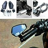 """Yizhet Universale 7/8"""" 22mm Specchio Moto, Retrovisore CNC Alluminio Rotazione di 360 ° Staffa Vista Laterale Specchietti per Manubrio Moto - 1 paio, Nero (Nero)"""