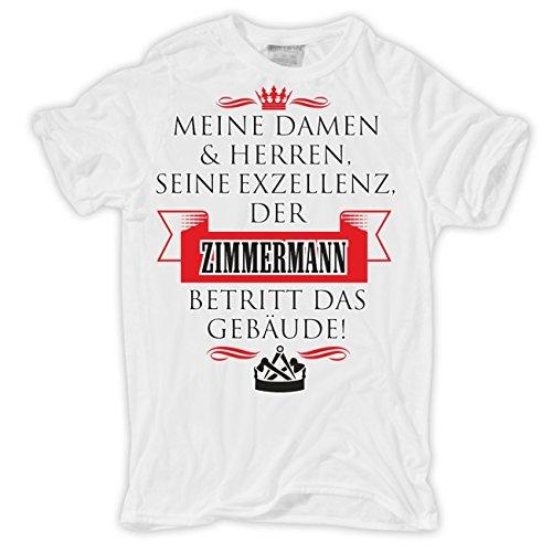 Männer und Herren T-Shirt Seine Exzellenz DER ZIMMERMANN Körperbetont weiß
