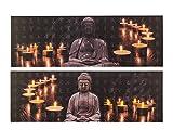 Out of the Blue Bild mit 8 LED, Buddha und Teelichte, Leinen auf Holzrahmen, Mehrfarbig, 30 x 90 cm