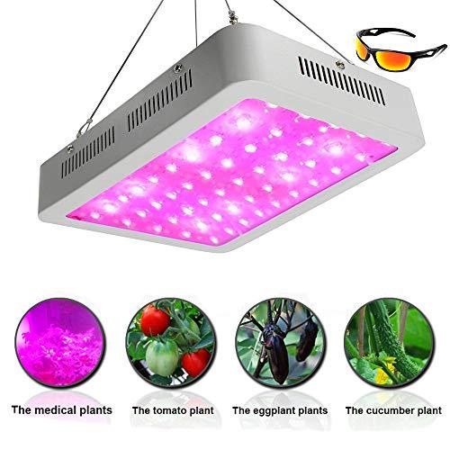 LED All Stage Pflanzenwachstum Beleuchtung,UV/IR-Vollspektrum 600W-1000W Beleuchtung mit 2er Pack Professional Anti-Ray-Brille,Wachsendes Licht,600W
